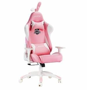 Cadeira de jogador Autofull rosa e branca com orelhas